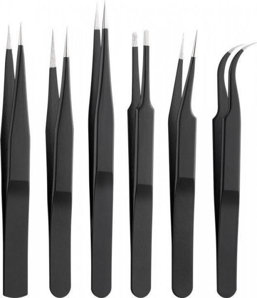 Pinzetten-Set 6-teilig aus rostfreiem Edelstahl